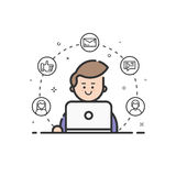 Vector illustration of colored icon in flat line style. Linear cute and happy man with laptop. Royalty Free Stock Photography