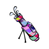 Vector illustration of colored motley golf bags. Vector illustration of a colored motley golf bag with golf clubs on a white background Royalty Free Stock Photography