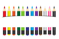 Vector illustration Colored pencils. 12 pcs stock illustration
