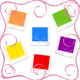 Vector illustration of the colored photo frames. With floral Royalty Free Illustration