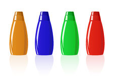 Vector illustration of colored shampoo bottles Stock Image