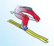 Vector illustration of colored skier Stock Photos
