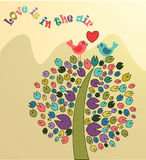 Vector illustration of colored tree and birds Stock Photos