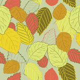 Vector illustration of colorful autumn leaves on soft green background. Seamless pattern. Hand drawn autumn leaves on soft green background. Seamless pattern royalty free illustration