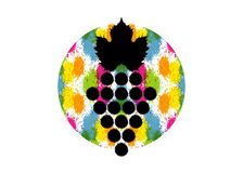 Vector illustration of colorful background and grapes vine. Abstract splash circular watercolor with grape berries. Design concept. For wine label, wine list stock illustration