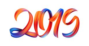 Vector illustration: Colorful Brushstroke paint lettering calligraphy of 2019 on white background. Happy New Year. stock illustration