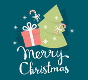 Vector illustration of colorful christmas fir tree, gift box, ca. Ndy with handwritten text merry christmas on green background. Flat style design for web, site Royalty Free Stock Photos