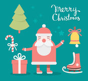 Vector illustration of colorful collection of christmas elements. With handwritten text merry christmas on green background. Flat style design for web, site Vector Illustration