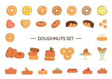 Vector illustration of colorful doughnuts royalty free illustration