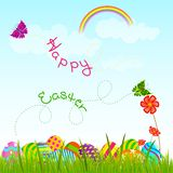 Colorful Easter Egg in garden Royalty Free Stock Images