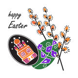 Vector illustration of colorful Easter eggs with spring willow Stock Image