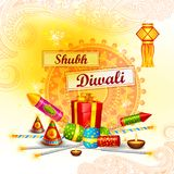 Colorful fire cracker with decorated diya for Happy Diwali festival. Vector illustration of colorful fire cracker with decorated diya for Happy Diwali festival Royalty Free Stock Image