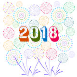 Vector illustration of Colorful fireworks. Happy new year 2018 theme. Vector illustration of Colorful fireworks. Happy new year 2018 Stock Photo