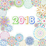 Vector illustration of Colorful fireworks. Happy new year 2018 theme. Vector illustration of Colorful fireworks. Happy new year 2018 Stock Image
