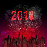 Vector illustration of Colorful fireworks. Happy new year 2018 theme. Vector illustration of Colorful fireworks. Happy new year 2018 Royalty Free Stock Photography
