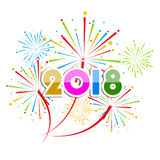 Vector illustration of Colorful fireworks. Happy new year 2018 theme. Vector illustration of Colorful fireworks. Happy new year 2018 Stock Photography