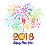 Vector illustration of Colorful fireworks. Happy new year 2018 theme. Vector illustration of Colorful fireworks. Happy new year 2018 Stock Photos