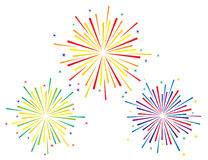 Vector illustration of colorful fireworks set. On white background Stock Photo