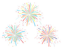 The vector illustration of colorful fireworks. On white background Stock Photography
