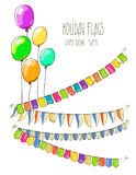 Vector Illustration of colorful flag garlands and Stock Photography