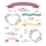 Vector illustration of colorful flat design style foral frames, Stock Photography