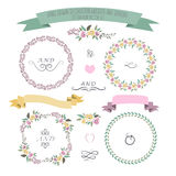 Vector illustration of colorful flat design style foral frames, Royalty Free Stock Photos