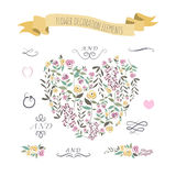 Vector illustration of colorful flat design style foral heart, r Royalty Free Stock Image