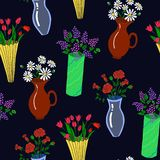 Vector illustration of colorful flowers in vases seamless pattern. vector illustration