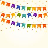 Vector Illustration of Colorful Garlands on white background. Rainbow colors buntings festive and flags. Birthday, holiday, party,. Carnival Stock Images