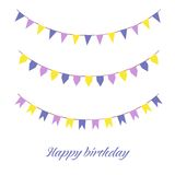Colourful Bunting. Illustration of colourful bunting with happy birthday written under it, isolated on white Royalty Free Stock Image