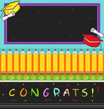 Congrats. Vector illustration of a colorful graduation hats, diplomas, pencils and the word congrats at the bottom with a blank chalkboard at the top. Eps10 Royalty Free Stock Photography