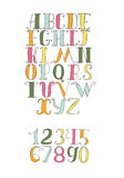 Vector illustration with colorful hand drawn alphabet sequence.. Font and numbers set, good for lettering, titles, design,  on white. Letters from a to z and Stock Image