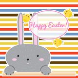 Colorful Happy Easter greeting card with cartoon rabbit Bunny. Vector illustration. Colorful Happy Easter greeting card with cartoon rabbit Bunny Royalty Free Stock Photography