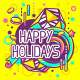 Vector illustration of colorful happy holidays quote Royalty Free Stock Photography