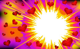 Vector illustration of colorful hearts explode. Stock Photo