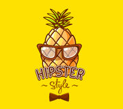 Vector illustration of colorful hipster pineapple with glasses a Royalty Free Stock Images