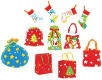 Christmas gift bags Stock Images