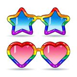 Disco sunglasses in the shape of hearts and stars, frame in rainbow colors. Vector illustration, colorful icons, set a set of glossy retro style disco sunglasses Royalty Free Stock Photos