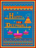 Colorful Indian truck painting on Happy Diwali card for festival of light of India royalty free illustration