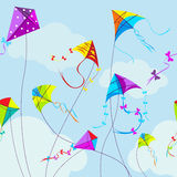 Vector illustration of colorful kites and clouds. In the sky. Horizontal seamless pattern. Hobby and colorful, fly and string, toy and wing Stock Images
