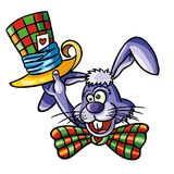 Vector illustration of colorful loony bunny with magician top ha Stock Image