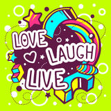 Vector illustration of colorful love laugh live quote Stock Images