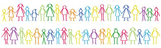 Vector illustration of colorful male and female stick figures standing in rows holding hands. Isolated on white background Stock Images