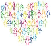 Vector illustration of colorful male and female stick figures standing in shape of heart symbol holding hands Stock Image