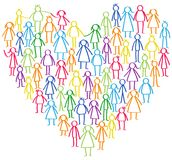 Vector illustration of colorful male and female stick figures standing in shape of heart symbol Royalty Free Stock Photo