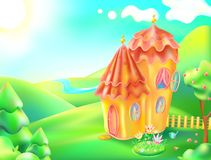 Vector illustration of colorful nature and home. Cartoon landscape and gingerbread house of a sunny summer day. Children backgroun. D a lodge, river, trees, sky Royalty Free Stock Images