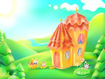 Vector illustration of colorful nature and home. Cartoon landscape and house of a sunny summer day. Children background a lodge, r. Iver, trees, sky, clouds Royalty Free Stock Images