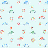 Vector illustration pattern with cars and balls. Vector illustration of colorful pattern with children toys: cars and balls Stock Photos