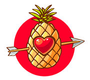 Vector illustration of colorful pineapple with heart and arrow o Royalty Free Stock Photo