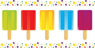 Popsicles Icons. Vector illustration of colorful popsicles icons with a colorful border. Eps10 Stock Image